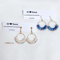 【moon ・beads】デニムカラー&オフホワイトカラー