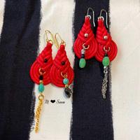 【しずく・mini】レッド 2color ピアス&イヤリング