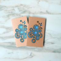 61c【レーザーカット メッセージカード】ブルー2枚組