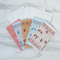 Chimanlals サリー風花柄【メッセージカード&封筒】5枚セット