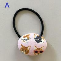 猫柄ボタン★ヘアゴム付(小)メガネ猫