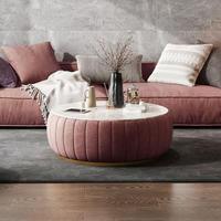 ベルベットラウンドローテーブル(ピンク)