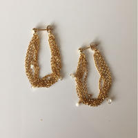 14KGF   mother of pearl chain earrings