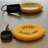 M&M-FURNITURE   MUSTARD HOTEL KEYRING-M  LIMITED [UpsideDown] BLACK EDITIONS with QUIKEY COIN CASE