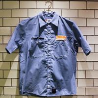 M&M-CUSTOM PERFORMANCE  MUSTARD HOTEL HOUSE KEEPING TEAMWORK SHIRT -BLUE STRIPE-