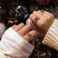 Glass beads ring 🌙3つset 3色