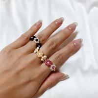 Pearl flower ring 🖤🖤9色