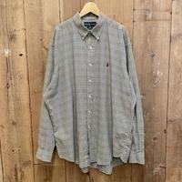"90's~ Polo Ralph Lauren ""BLAKE"" Cotton B.D Shirt GREEN×OFFWHITE"