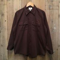 90's Dickies Printed L/S Work Shirt BROWN
