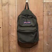 90's JANSPORT Nylon×Leather Backpack  OLIVE