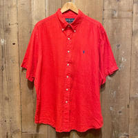 90's~  Polo Ralph Lauren Linen Shirt SCARLET RED