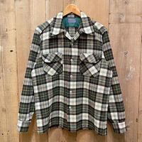 70's PENDLETON Wool Board Shirt GREEN×WHITE