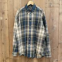 90's NAUTICA Cotton Light Flannel Shirt OFF WHITE×BLUE