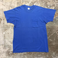 80's FRUIT OF THE LOOM Plain Pocket Tee BLUE