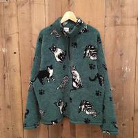 90's PBJ SPORT Cat Pattern Fleece Jacket