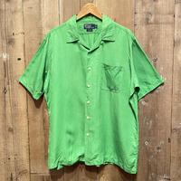 90's~  Polo Ralph Lauren Silk/Linen Shirt L.GREEN