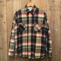 80's ST JOHN'S BAY Heavy Flannel Shirt BLACK×BEIGE