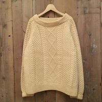 STANDUN Boat Neck Aran Knit Sweater