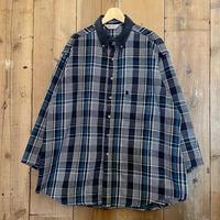 80's~ Carhartt Heavy Cotton Flannel Shirt NAVY×WHITE×BLUE
