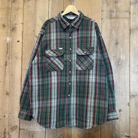 80's~ Carhartt Heavy Cotton Flannel Shirt GREEN×BLACK×RED