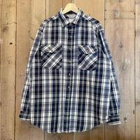 80's~ Carhartt Heavy Cotton Flannel Shirt NAVY×WHITE