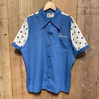 70's~ King Louie Poly/Cotton Bowling Shirt BLUE