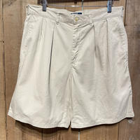 80's~ Polo Ralph Two Tuck Cotton Shorts  L.BEIGE  W 34