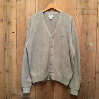 80's IZOD LACOSTE Acrylic Knit Cardigan GRAY SIZE : M