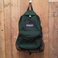 90's JANSPORT Nylon×Leather Backpack  GREEN