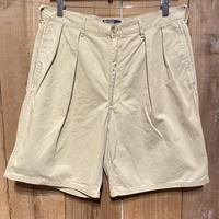90's~ Polo Ralph Two Tuck Cotton Shorts  KHAKI  W 34