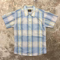 70's Sears PERMA PREST S/S Plaid Shirt BULE