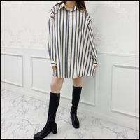 《予約商品/10月中旬〜》ストライプシャツワンピース