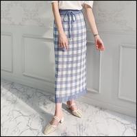 ギンガムチェックニットスカート