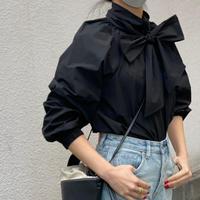 ボリュームスリーブbigリボンシャツ (ブラック)