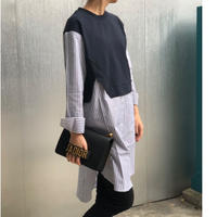【予約販売】ドッキングロングシャツ(ストライプ)
