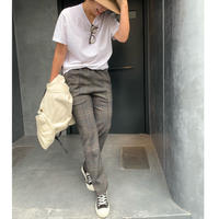 【11月末発送予定】チェック裾ジップスリットテーパドパンツ