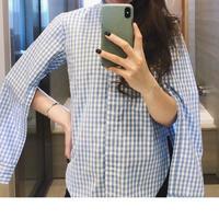 袖スリットシャツ(ブルー)