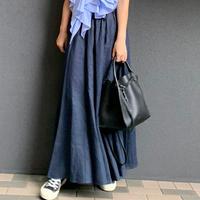 リネンマキシスカート(ネイビー)
