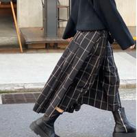 【1月上旬発送予定】チェックメモリフレアスカート (ブラック×ベージュ)