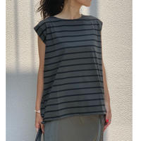 スリーブレス裾ドロストPO (チャコールグレー×ブラック)