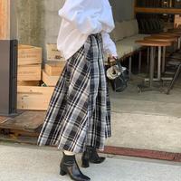 【12/21入荷予定】チェックメモリフレアスカート (ブラック×オフ)