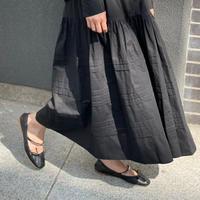 COTTONタックロングスカート(ブラック)