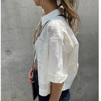 オーバーサイズ短丈シャツ(ホワイト)