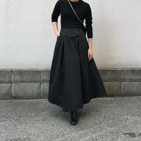 ベルト風デザインフレアスカート(ブラック)