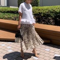 レオパード風ペイントプリーツスカート(ホワイト)