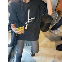 【XL サイズ】 2サイズ展開ユニセックスパロディSL Tシャツ(ブラック)