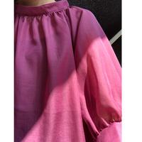 6分袖ネックギャザーシアーブラウス(ピンク)
