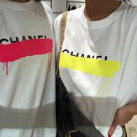 ユニセックスパロディtシャツ(ホワイト×イエロー)