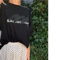 パロディBALENCIAGA ユニセックスtシャツ(ブラック)