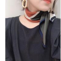 カラー配色スカーフ(ボルドー)